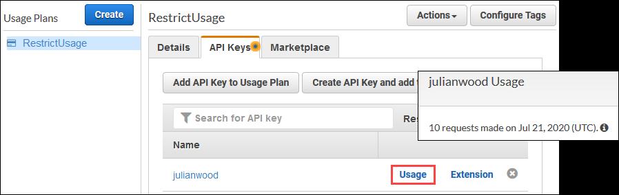 View API key usage