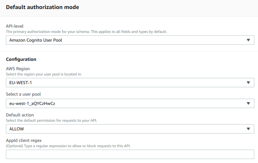 View AWS AppSync authorization settings with Amazon Cognito
