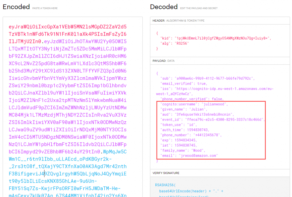 JSON web token decoded