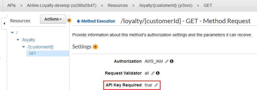 Setting API Key Required on API Gateway method