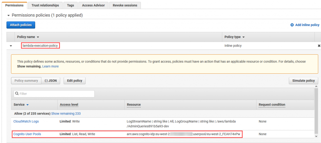 View Lambda execution role permissions including Amazon Cognito write