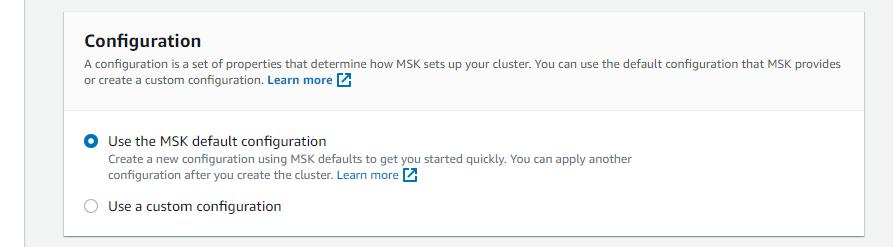 MSK configuration dialog box