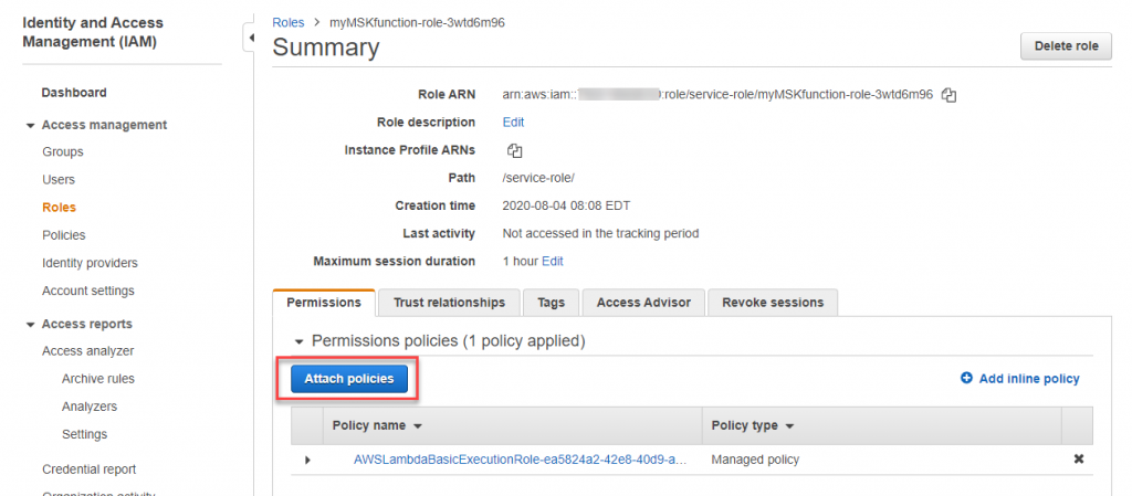 Attach policies to IAM role