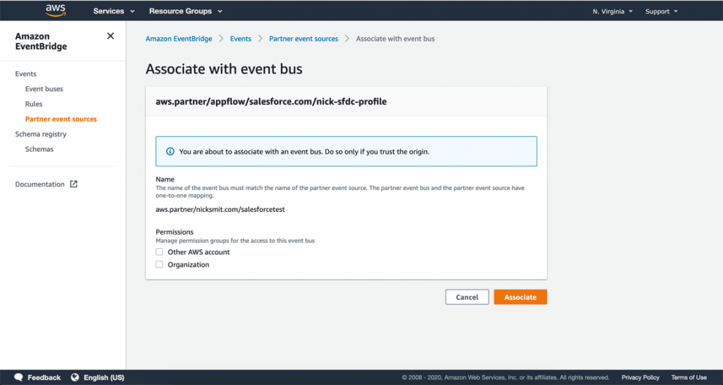 Associate with an event bus