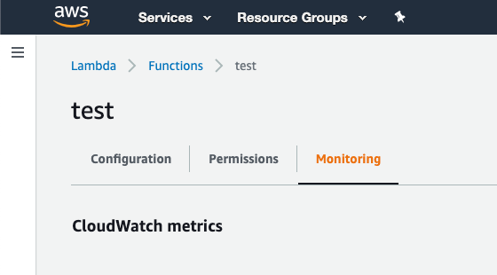 Lambda function monitoring tab
