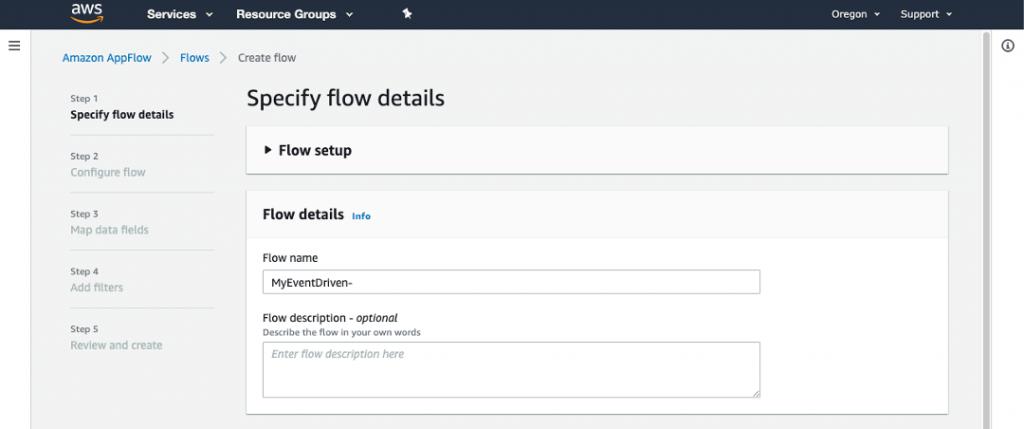Specify flow details