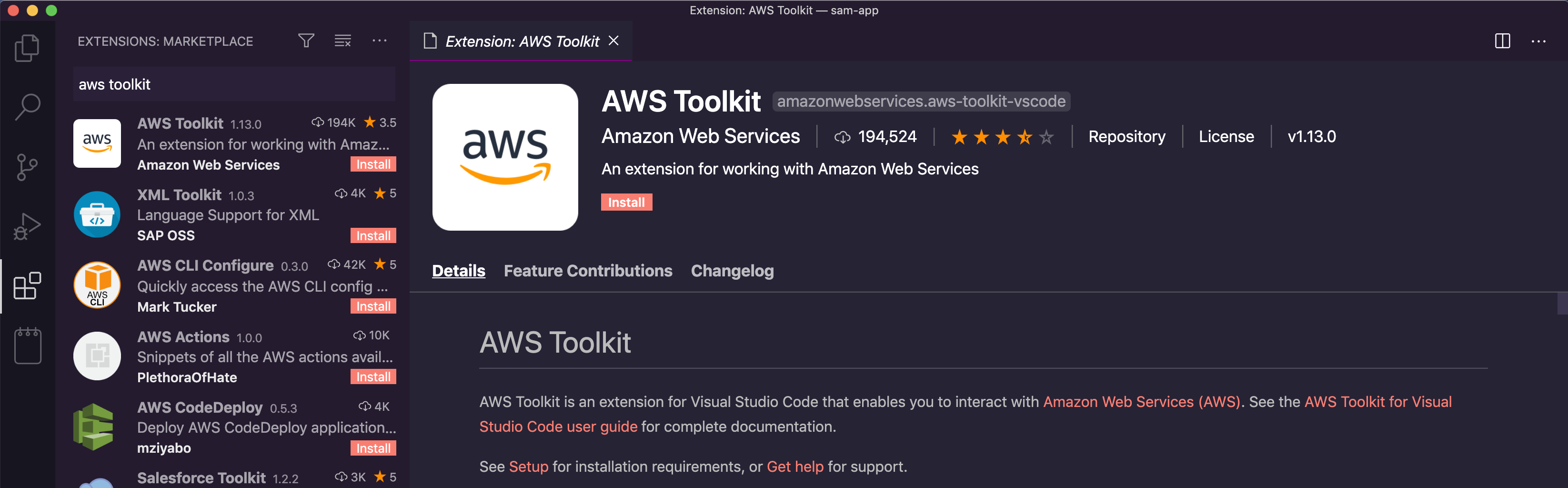 AWS Toolkit extension for Visual Studio Code