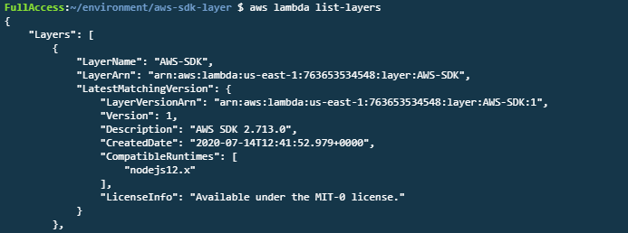 aws lambda list-layers output