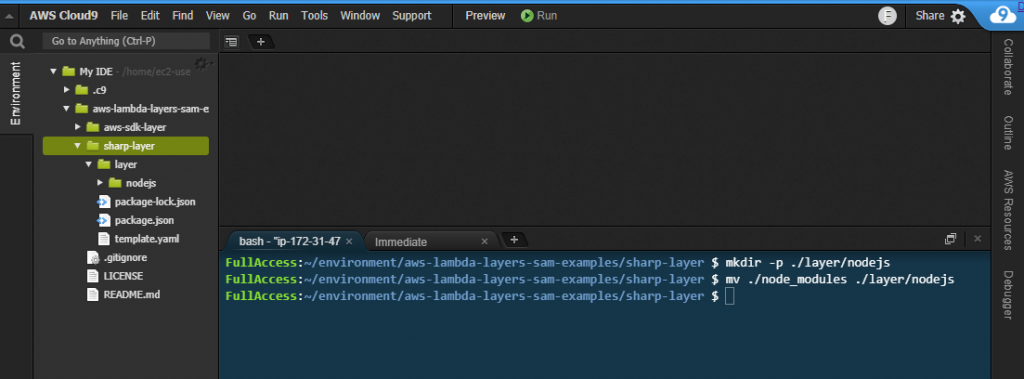 Creating the layer in Cloud9