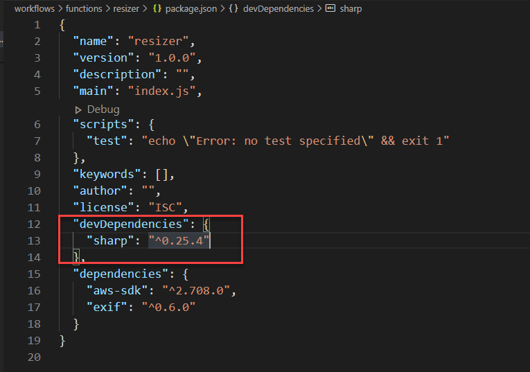 Adding development dependencies to package.json