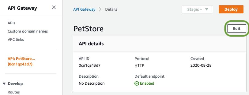 Select the Edit API option