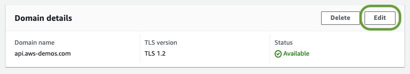 Edit custom domain name configuration