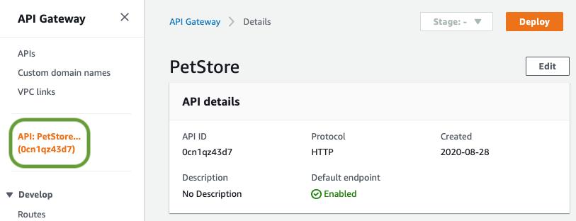 Select API name from menu