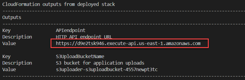 CloudFormation stack outputs