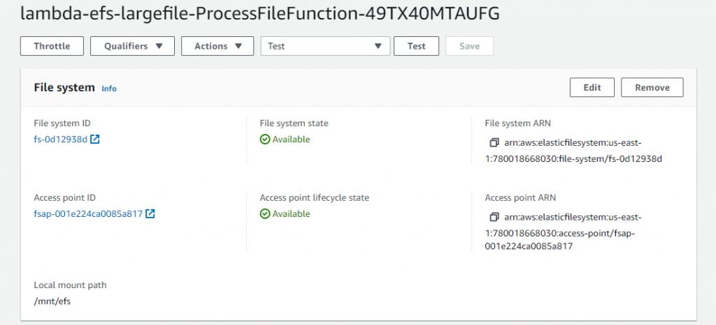 콘솔의 EFS 파일 시스템.