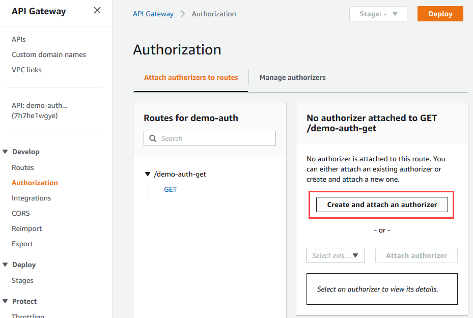Create and attach HTTP API authorizer