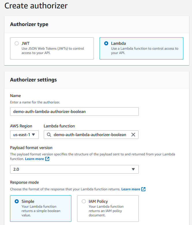 Create Lambda simple authorizer settings