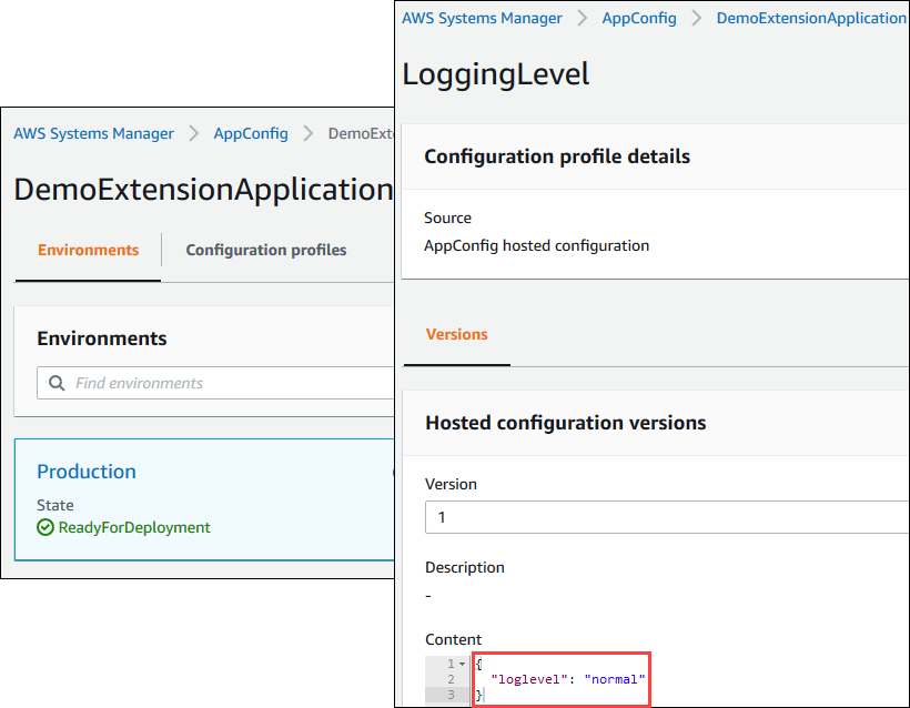 AWS AppConfig application, environment, and configuration profile