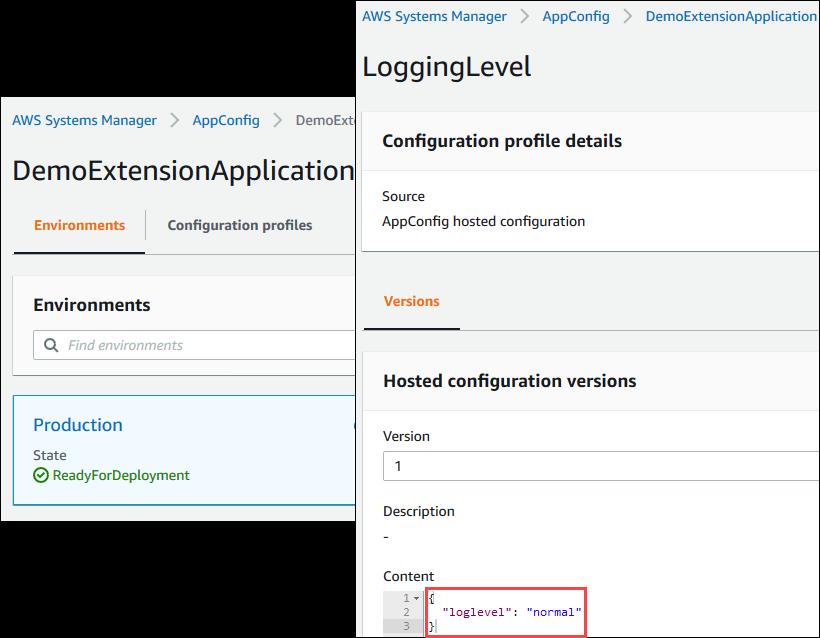 AWS AppConfig 애플리케이션, 환경 및 구성 프로필