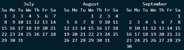 Q3 Calendar