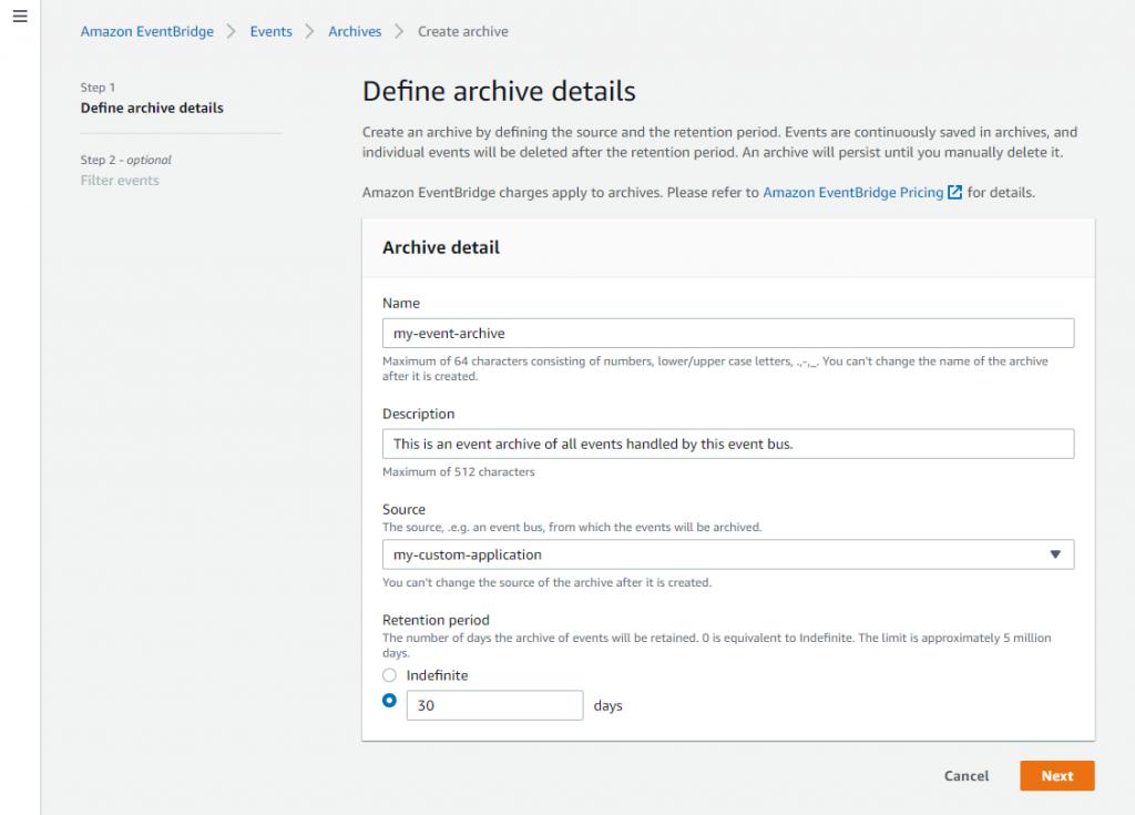 Define archive details