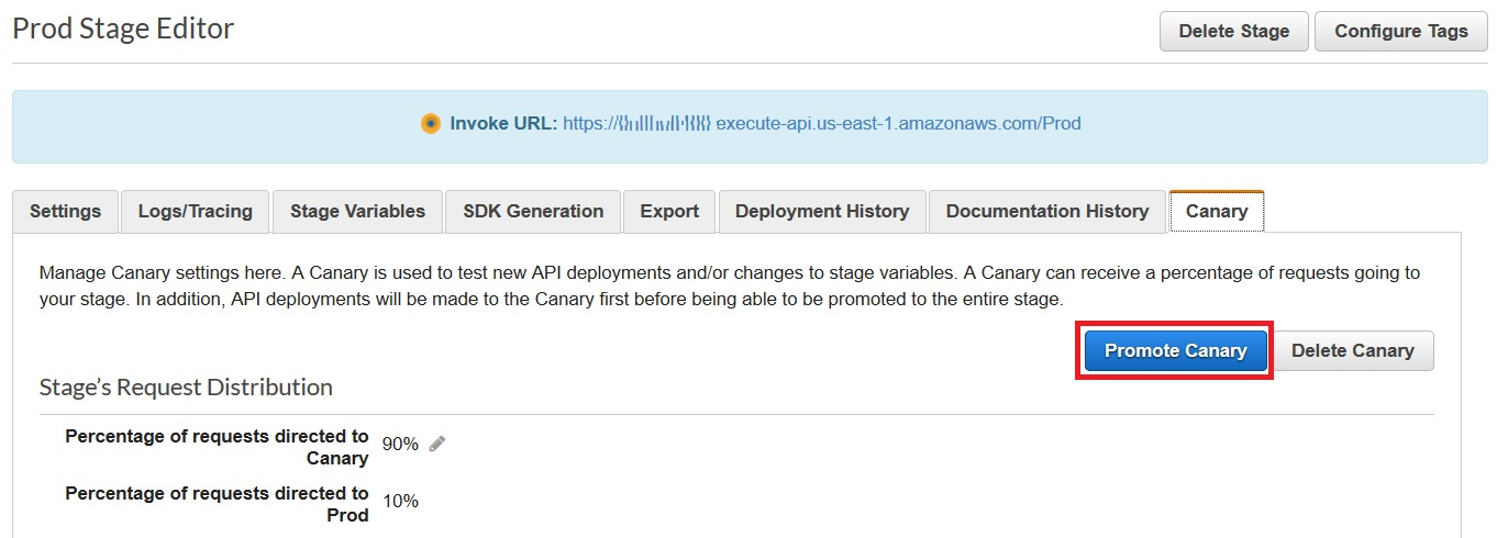 Promoting the canary in the Amazon API Gateway console