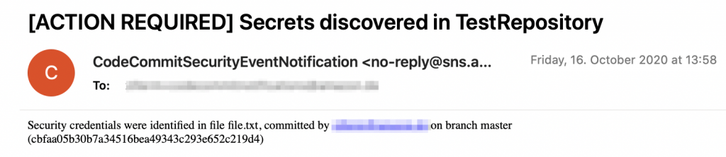 Notification about secrets discovered in a commit in TestRepository