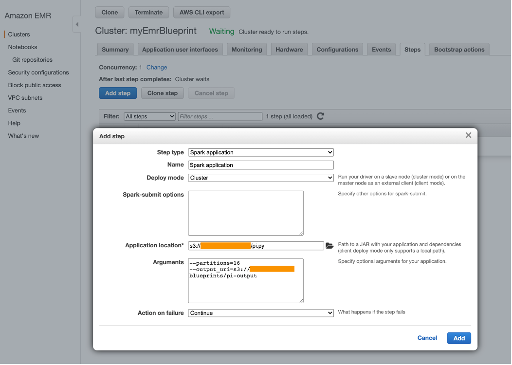 Add sample spark application as step on EMR cluster