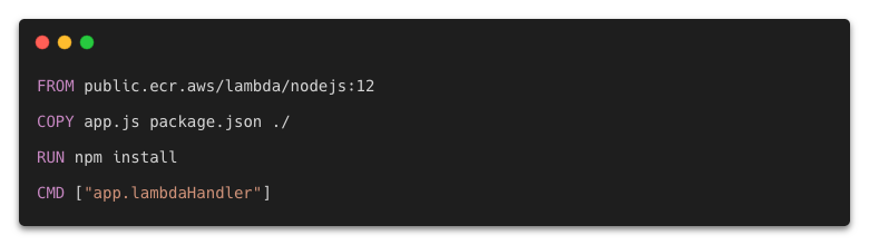 Dockerfile for Lambda function