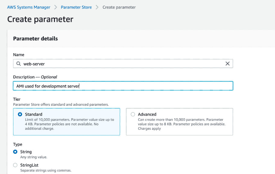 Creating a parameter in the AWS Systems Manager Console