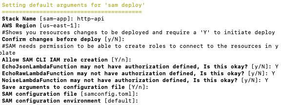 SAM deploy output