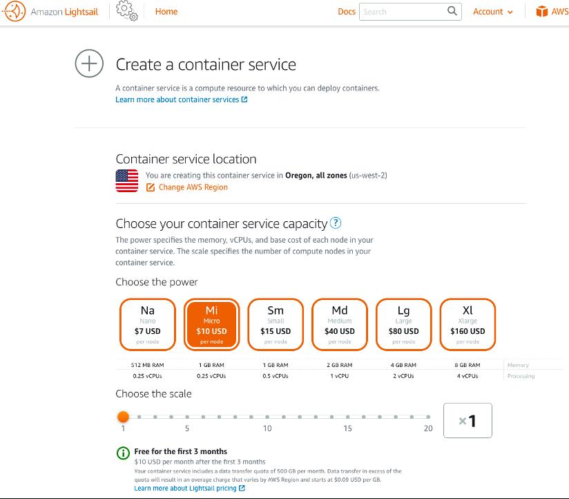 create a container service, micro