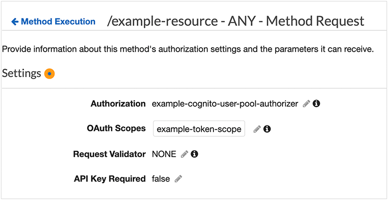 Example Amazon Cognito user pool authorizer for a REST API
