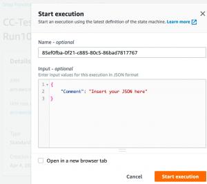 Start execution dialog