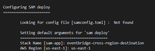 SAM deployment output