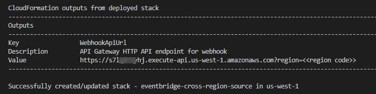 Stack outputs