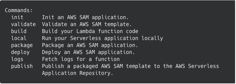 AWS SAM commands list