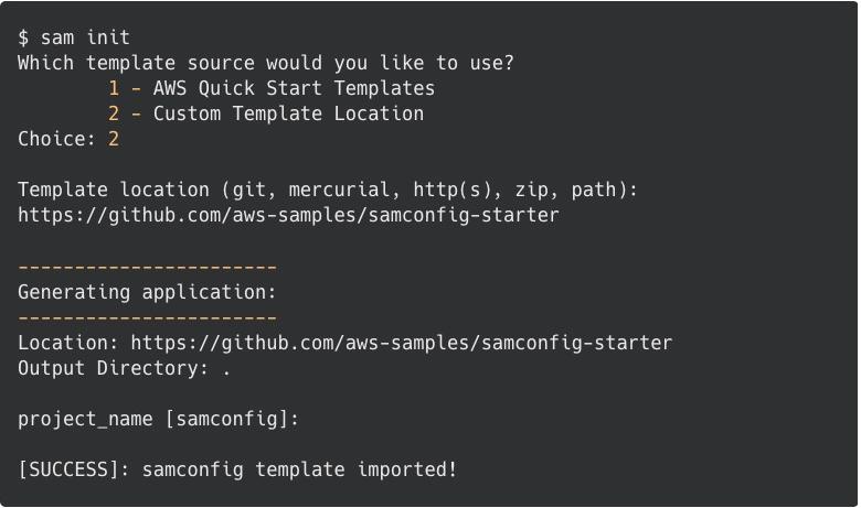 SAM config starter example