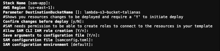 terminal output for sam deploy