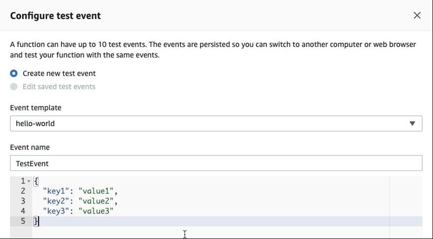 lambda test event