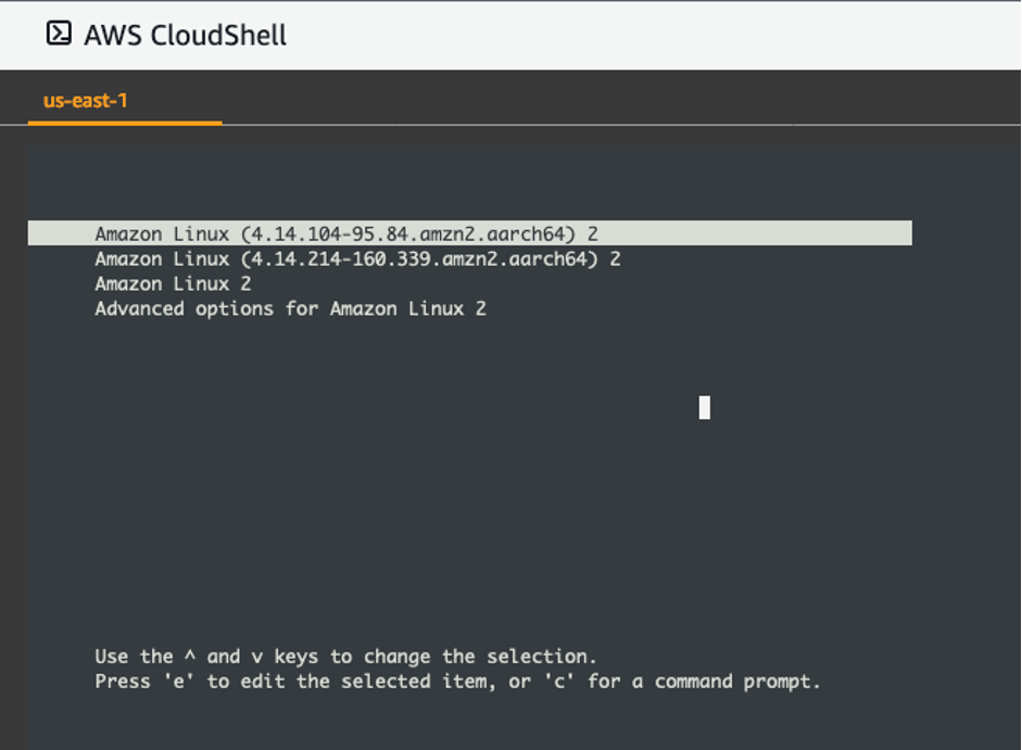 Figure 5: GRUB menu showing all kernels installed