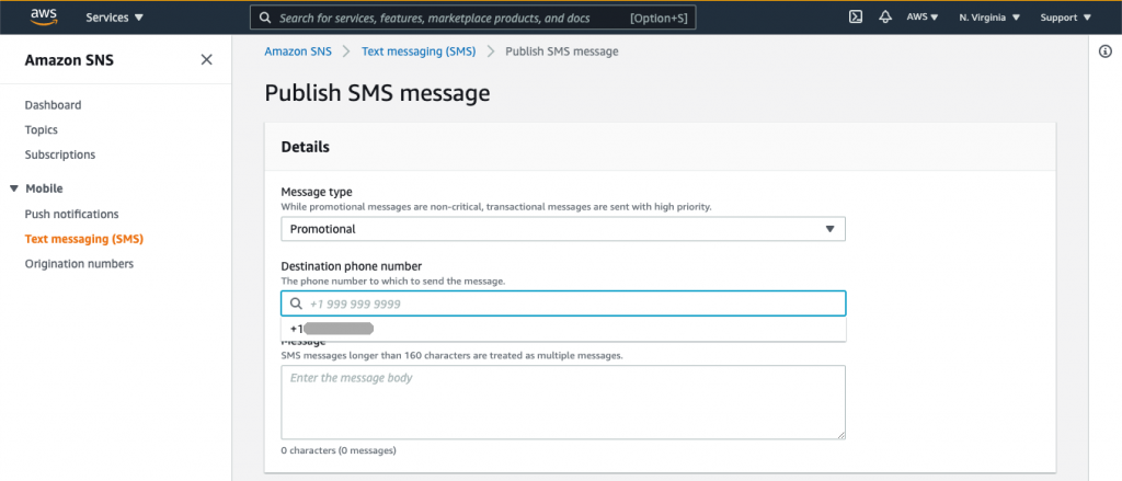 Publish SMS message page