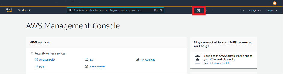 SSH icon in AWS Management Console