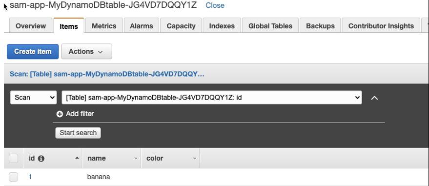 DynamoDB table