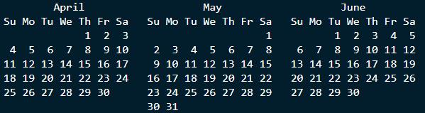 Q2 calendar