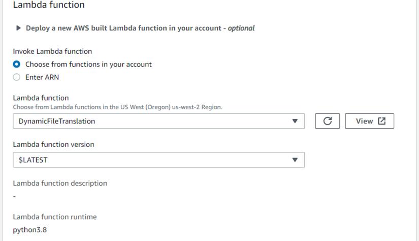 Select Lambda function