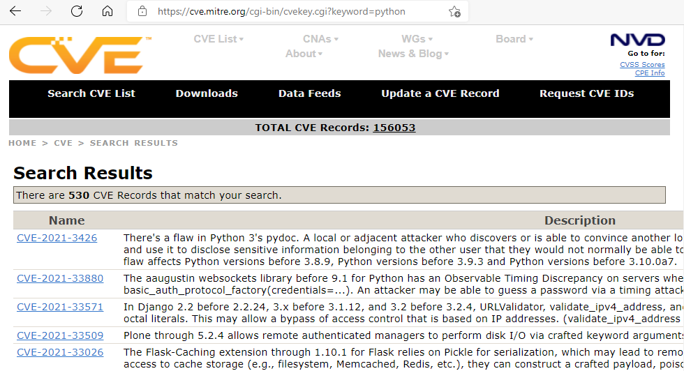 CVE Python search