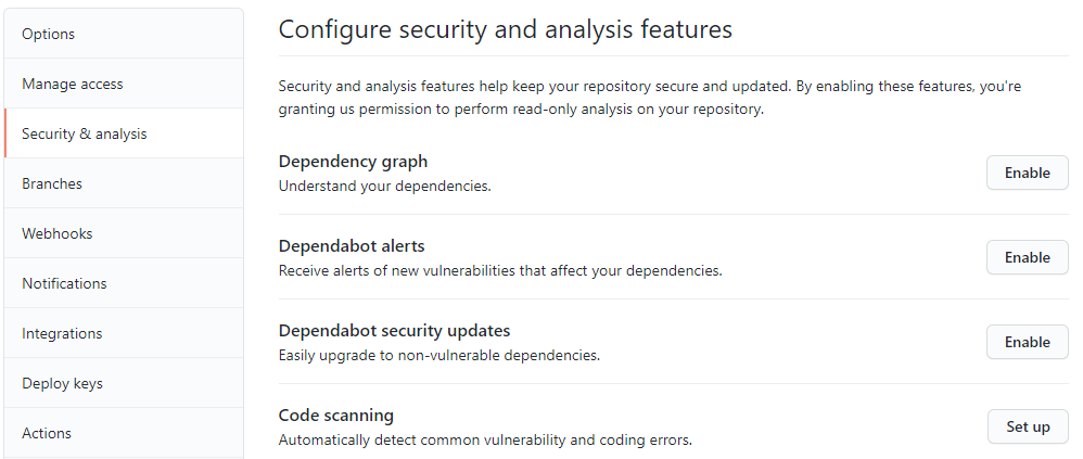 GitHub configure security and analysis features