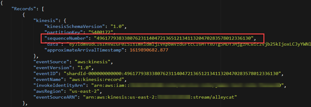 Sequence number in payload