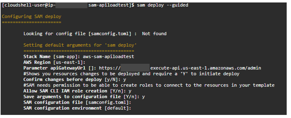 Example of SAM deploy